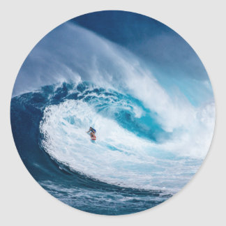 Surfer Surfing Ocean Waves Glossy Stickers