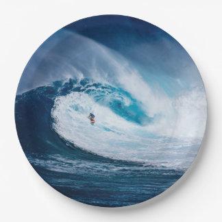 Surfer Surfing Ocean Waves Watersport Paper Plates