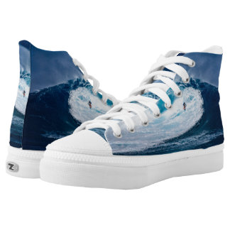 Surfer Surfing Ocean Waves Zipz High Top Shoes Printed Shoes
