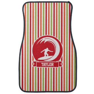 Surfer, Surfing; Red, Orange, Green, White Stripes Floor Mat