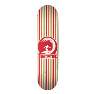 Surfer, Surfing; Red, Orange, Green, White Stripes Skate Board Deck
