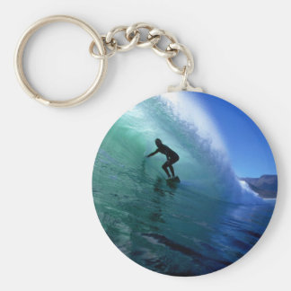 Surfer surfing the tube in green wave basic round button key ring
