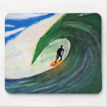 Surfer Surfing The Tube wave in Hawaii Mousepad