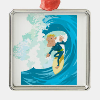 Surfer under a wave tunnel Silver-Colored square decoration