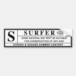 surfer warning label bumper sticker
