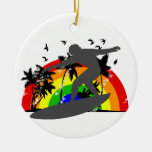 Surfer with Rainbow Christmas Ornaments