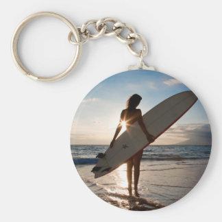 surfergirl.jpg basic round button key ring