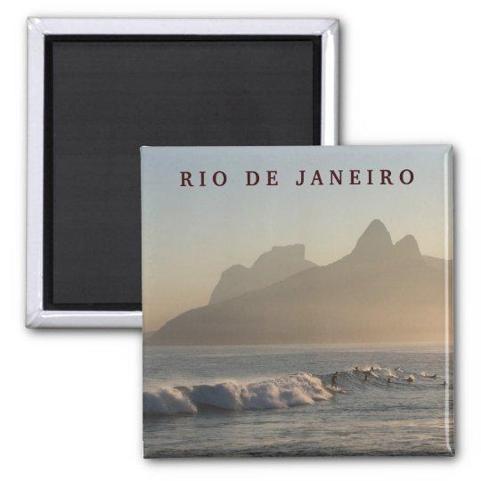 """""""Surfers at Arpoador, Rio de Janeiro"""" magnet"""