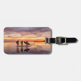 Surfers At Sunset Walking On Beach, Costa Rica Luggage Tag