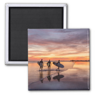 Surfers At Sunset Walking On Beach, Costa Rica Square Magnet
