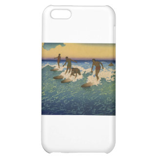 Surfers, Honolulu Hawaii riding the waves iPhone 5C Covers