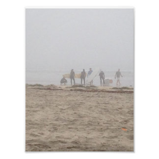 Surfers in fog photo