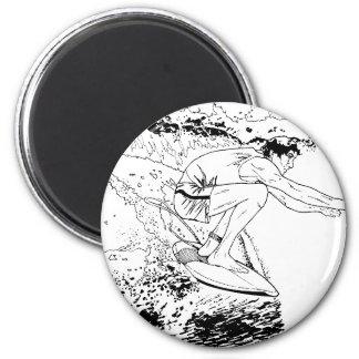 SURFING 6 CM ROUND MAGNET