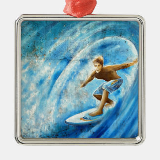 Surfing a blue wave surf mural christmas ornament