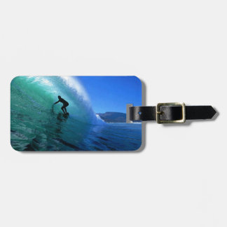 Surfing a green wave South Africa coast Luggage Tag