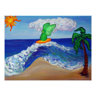 Surfing Angel Raphael Riding Healing Waves Posters