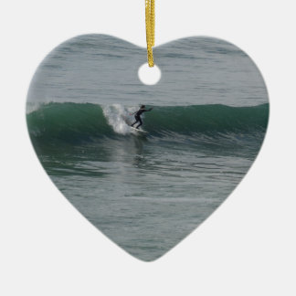 Surfing At Moonstone Beach in Cambria, CA Christmas Tree Ornament
