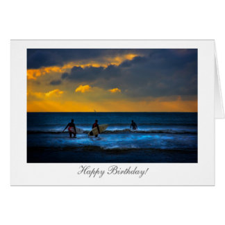 Surfing at Sunset - Happy Birthday Greeting Card