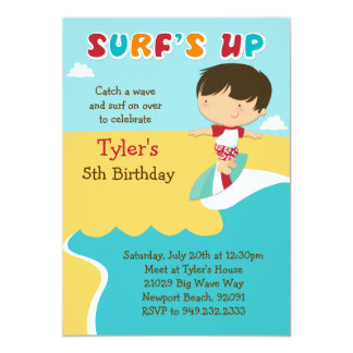 Surfing Beach Birthday Party Invitation