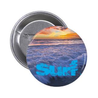 Surfing beach waves at sunset 6 cm round badge