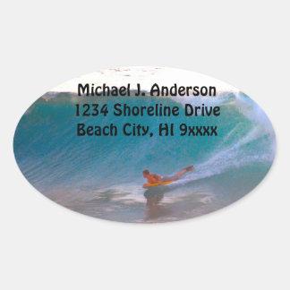 Surfing Big Ocean Waves Address Oval Sticker