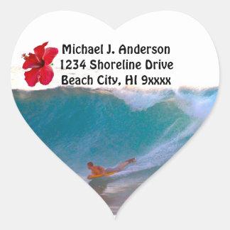 Surfing Big Ocean Waves return address Heart Sticker