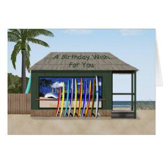Surfing birthday greeting card