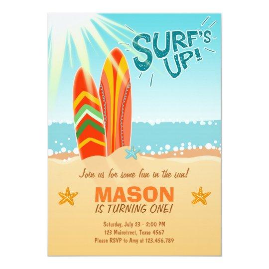 surfing birthday invitation surf s up beach party zazzle co uk