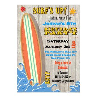 "Surfing Birthday Party Invitations 5"" X 7"" Invitation Card"