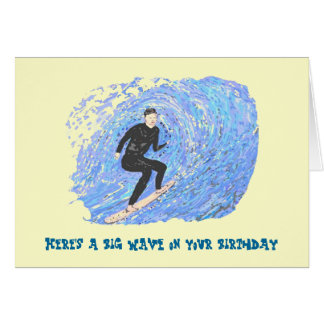 Surfing Bithday Card.