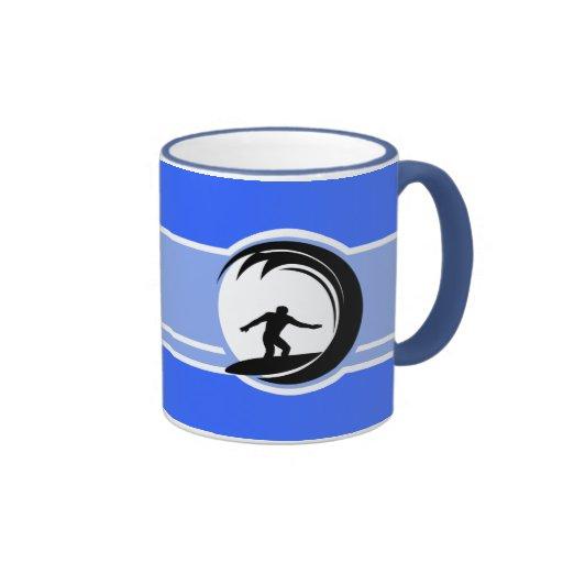 Surfing; Blue Coffee Mug