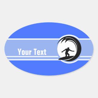 Surfing; Blue Oval Sticker