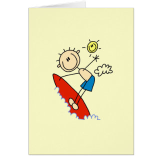 Surfing Boy Stick Figure Greeting Card