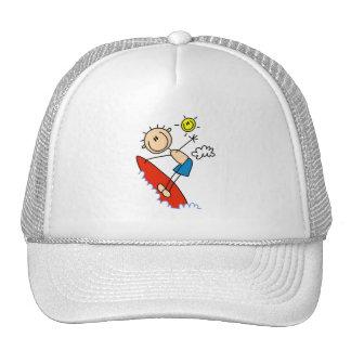 Surfing Boy Stick Figure Trucker Hats