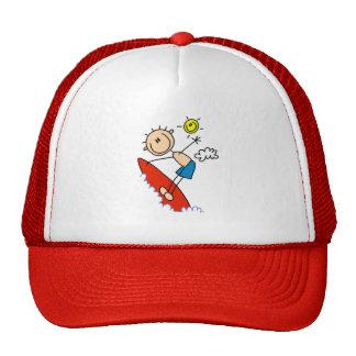 Surfing Boy Stick Figure Mesh Hats