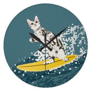 Surfing Cat Clock