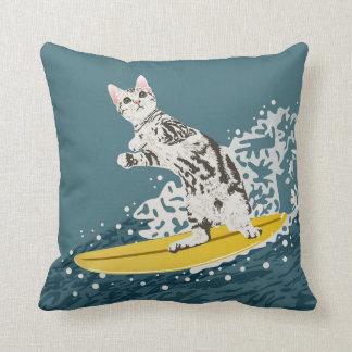 Surfing Cat Pillow