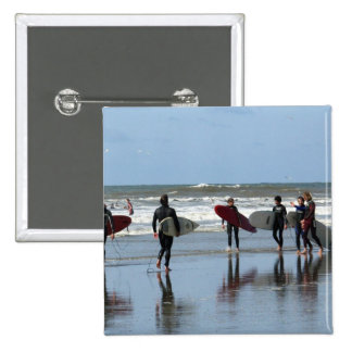 Surfing Crowd Square Pin