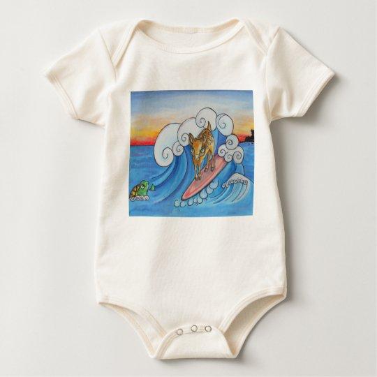 Surfing Deer Baby Jump Suit Baby Bodysuit