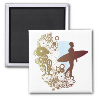 surfing dreams square magnet