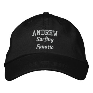 Surfing Fanatic Custom Name V08E Embroidered Hat