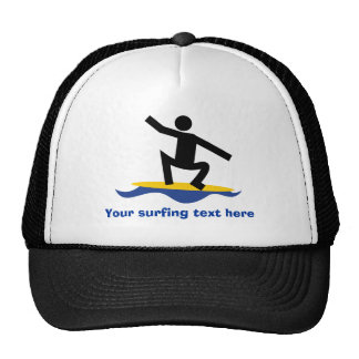 Surfing gifts, surfer on his surfboard custom cap