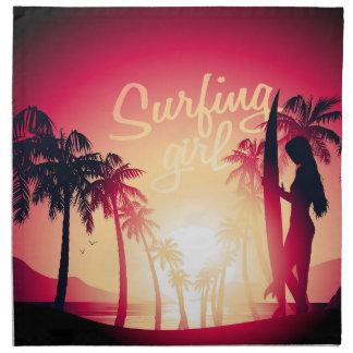 Surfing girl at sunrise napkin
