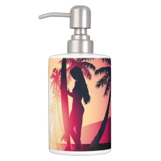 Surfing girl at sunrise toothbrush holders