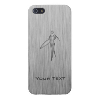 Surfing Girl; Brushed Metal-look Cover For iPhone 5/5S