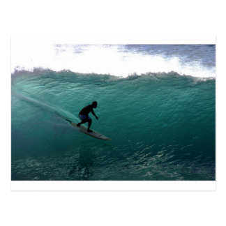 Surfing green wave Bali Postcard