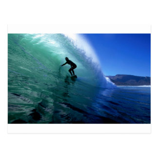 Surfing green wave postcard
