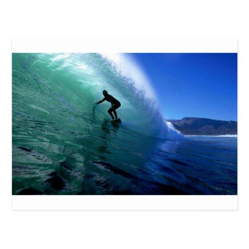 Surfing green wave postcards
