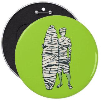 Surfing Halloween Mummy Pinback Button