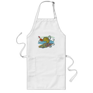 Surfing Halloween Octopus Long Apron